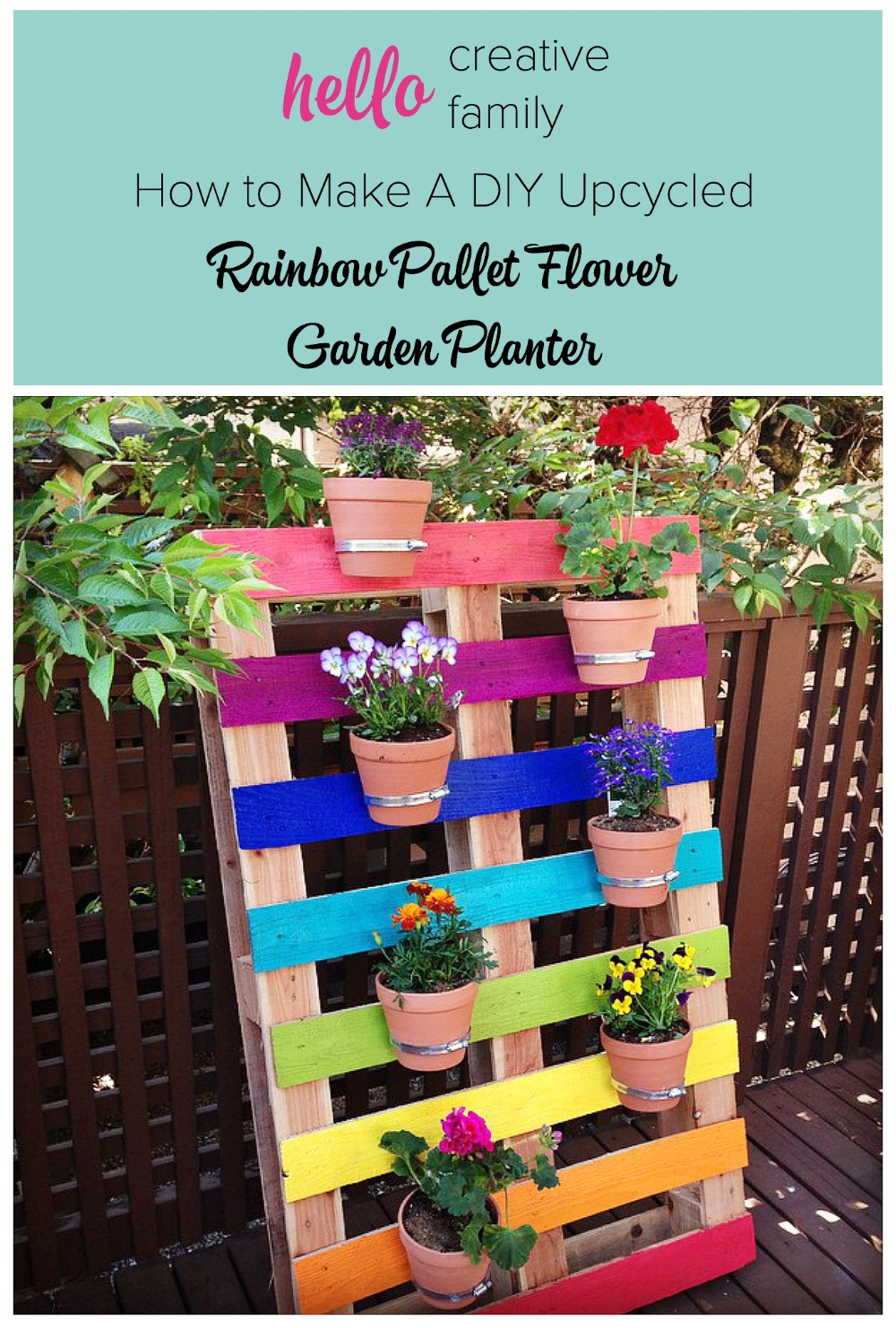 Create A Bright & Colorful Upcycled Rainbow Pallet Planter Project With  These Simple Instructions From Hello