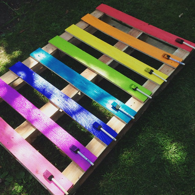 Create A Brightly Colored Upcycled Rainbow Pallet Planter Project With  These Simple Instructions From Hello Creative
