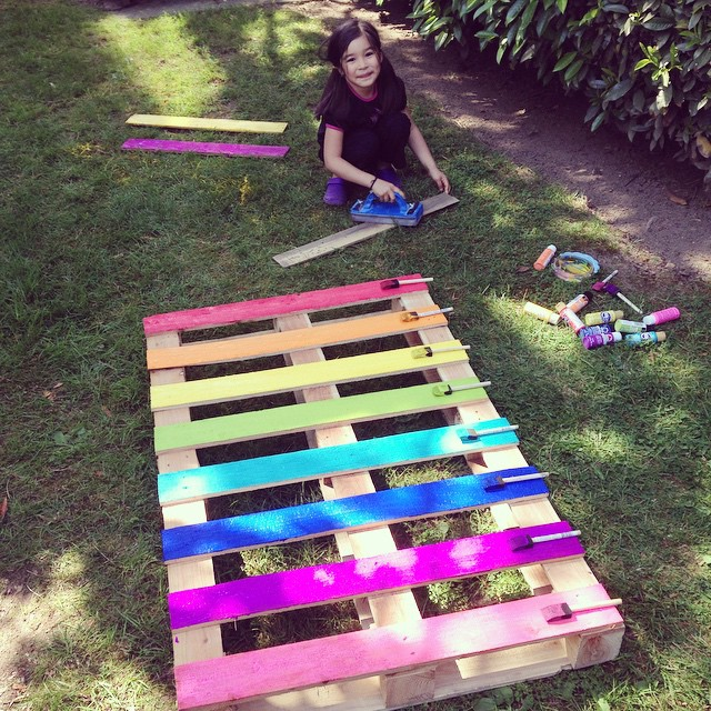 Create A Fun Upcycled Rainbow Pallet Planter Project With These Simple Instructions From Hello Creative Family