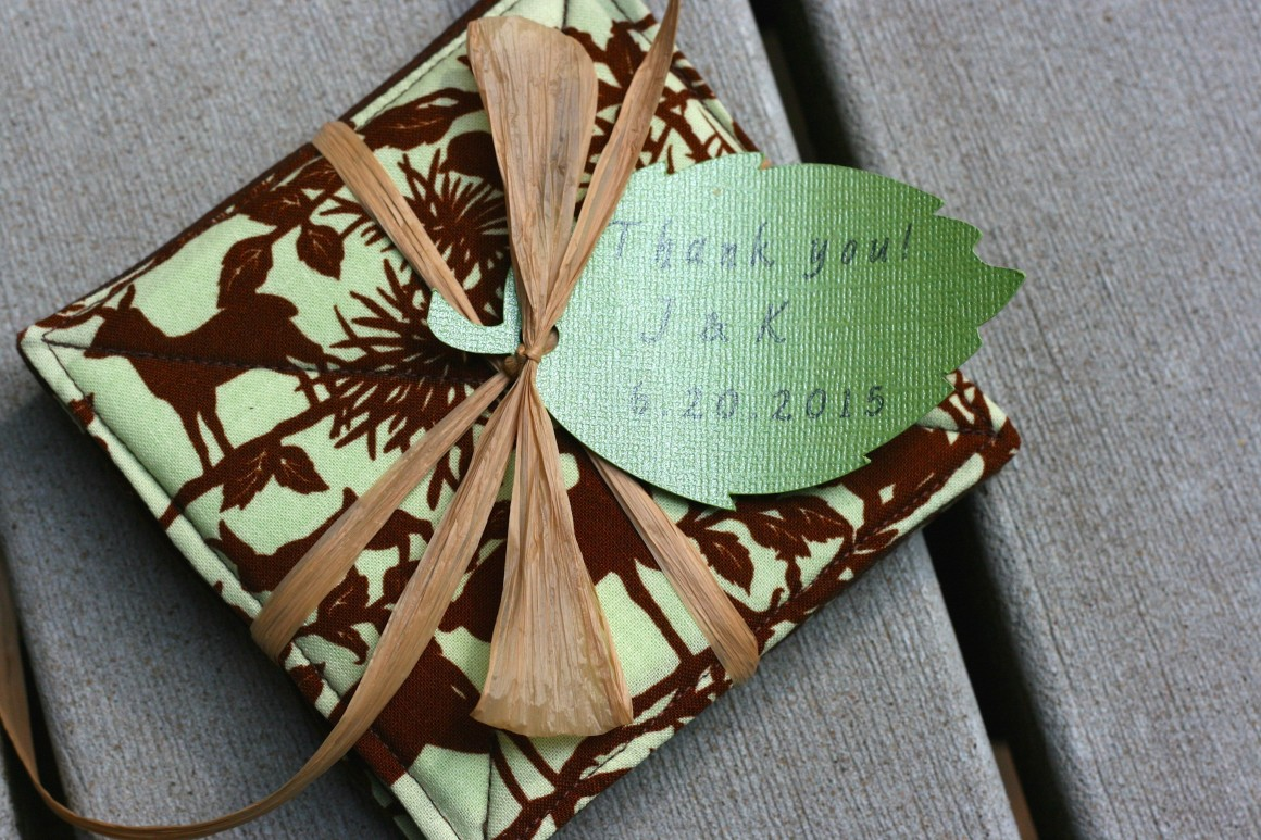 Woodland drink coaster wedding favor idea with leaf tag cut and printed on the Cricut