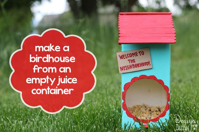 DIY Bird House from a Juice Carton
