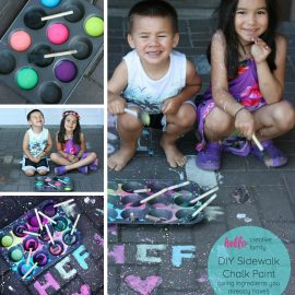 Looking for a fun outdoor summer activity with the kids Check out this Easy DIY Chalk Paint made using ingredients you already have at home! A fun kids summer art project. Perfect for Easy Cleanup Splatter Paint Parties!