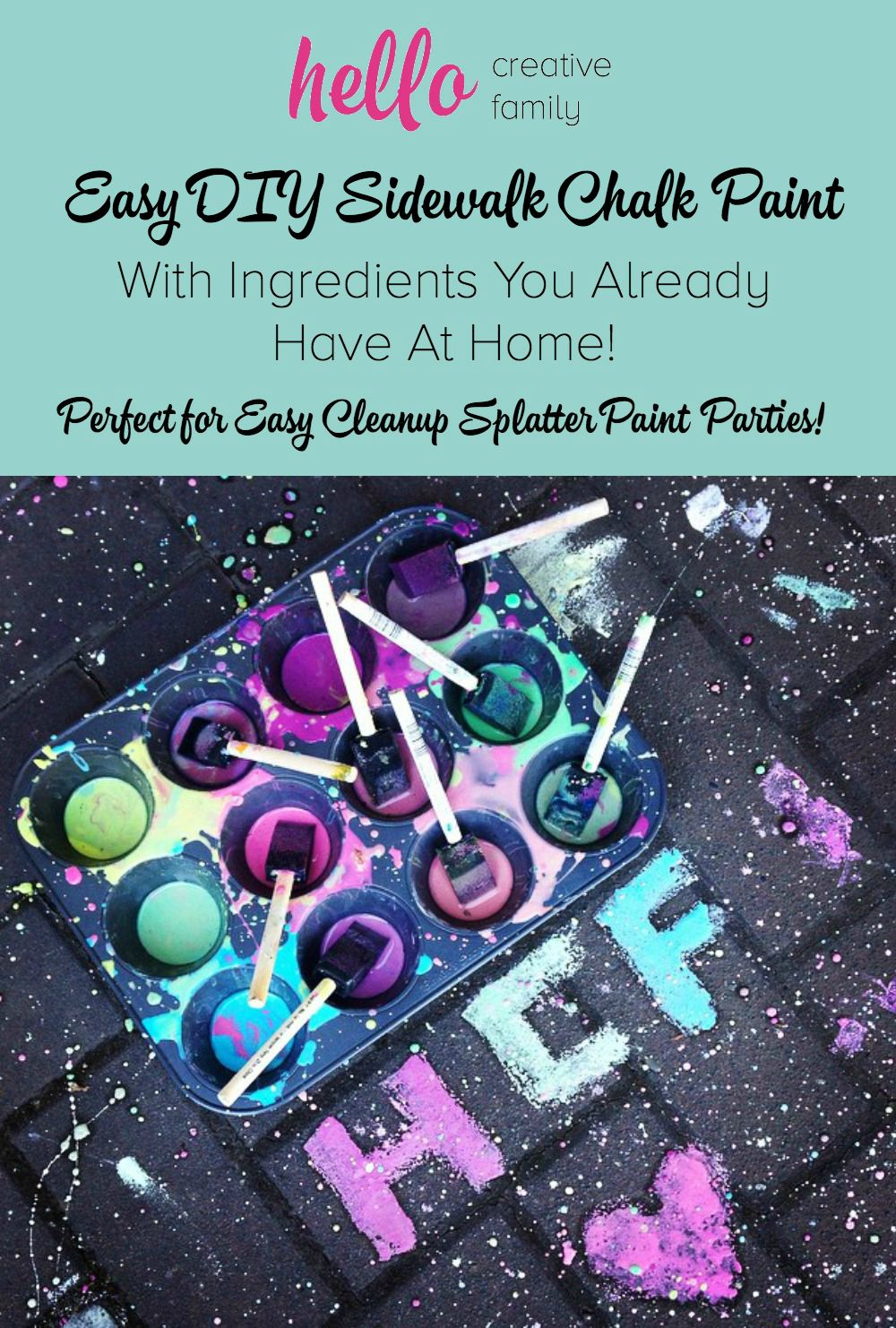 Easy DIY Sidewalk Chalk Paint With Ingredients You Already Have at Home! Perfect for easy cleanup splatter paint parties!