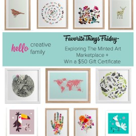 Hello Creative Family Favorite Things Friday- Exploring The Minted Art Marketplace + Win a $50 Gift Certificate