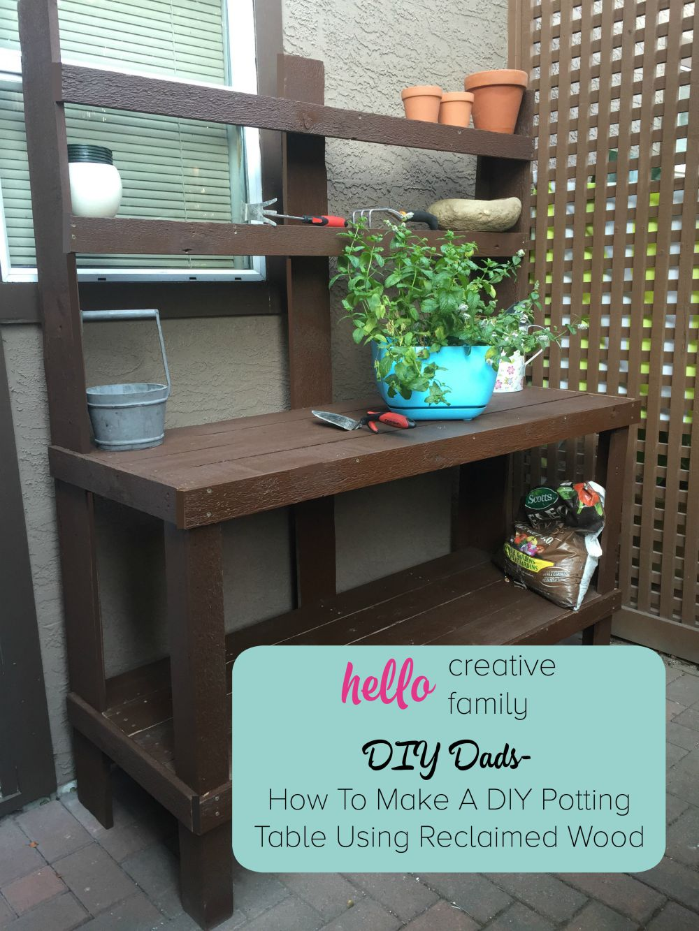 DIY Dads- How To Make A DIY Potting Table Using Reclaimed Wood A Great Weekend Project for a Handmade Gift Mom Will Love