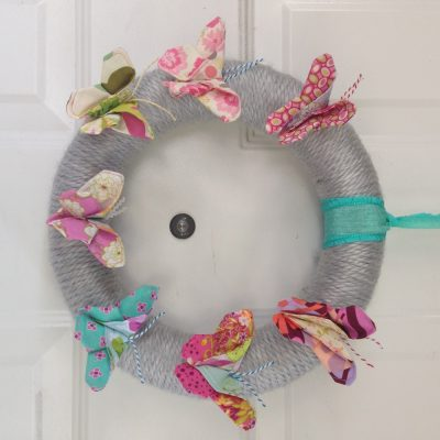 DIY Fabric Scrap Butterflies Wreath