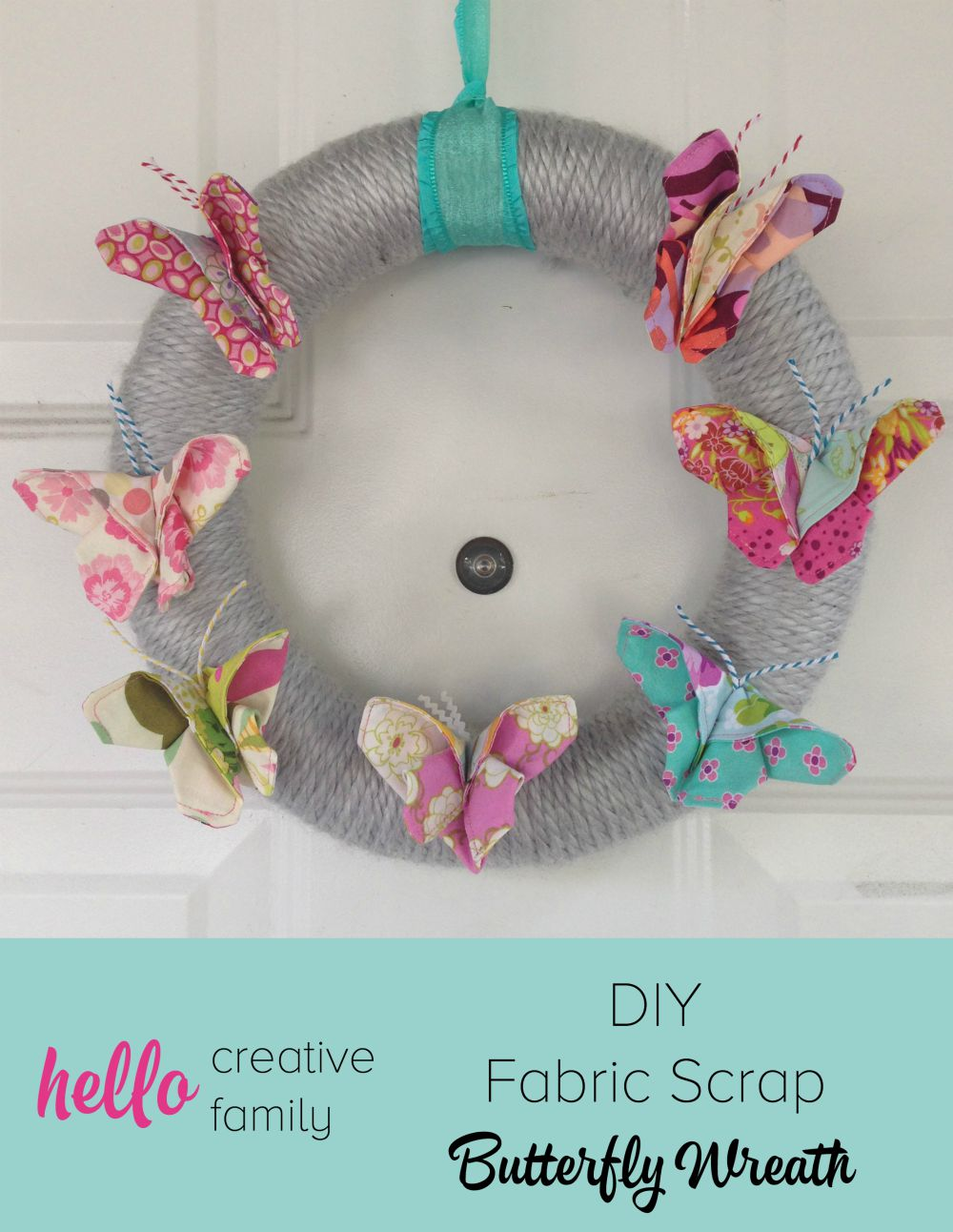 Looking for a fun project to make with fabric scraps Check out this DIY Fabric Scrap Butterfly Wreath. So cute for hanging on your front door.