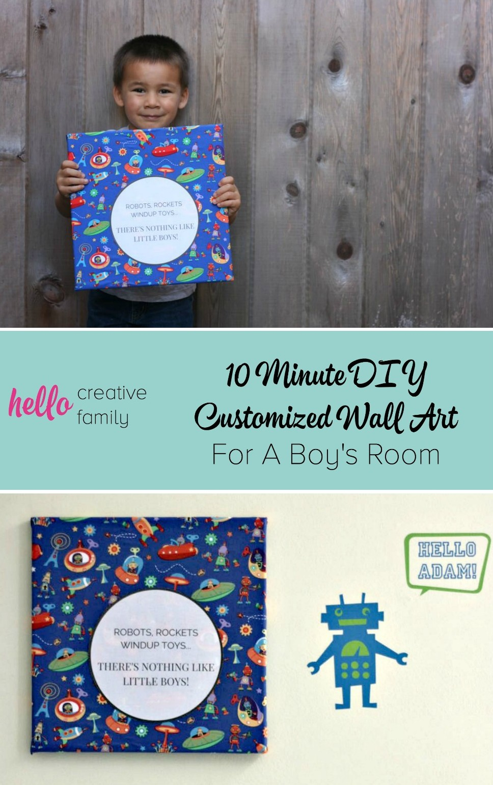 10 Minute DIY Customized Wall Art For A Boy Room