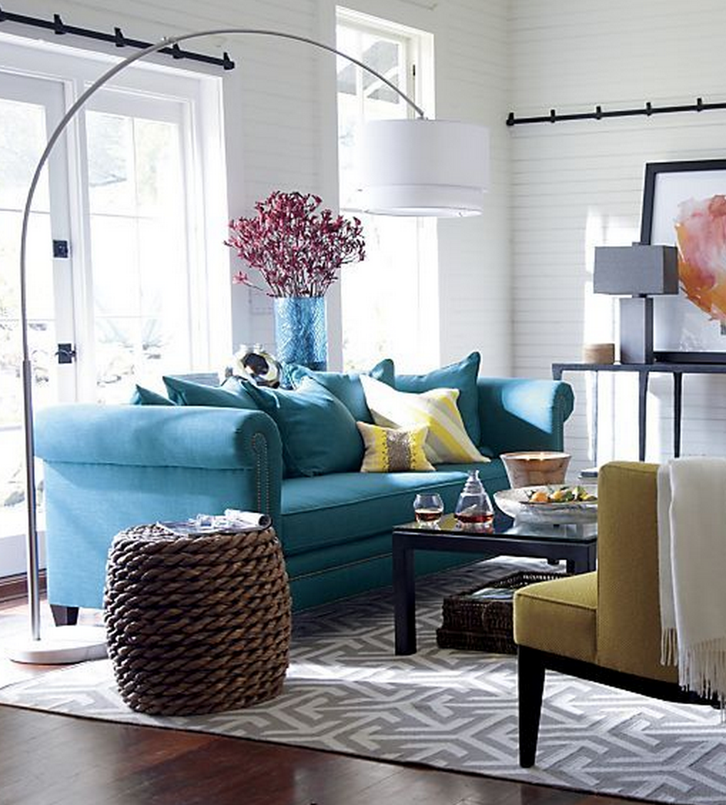 Gray teal and yellow color scheme decor inspiration - Sofa azul turquesa ...