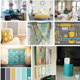 Decor and Design Inspiration Gray, Teal and Yellow Color Scheme