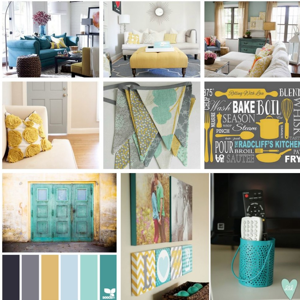 Gray teal and yellow color scheme decor inspiration gray for Kitchen decor inspiration