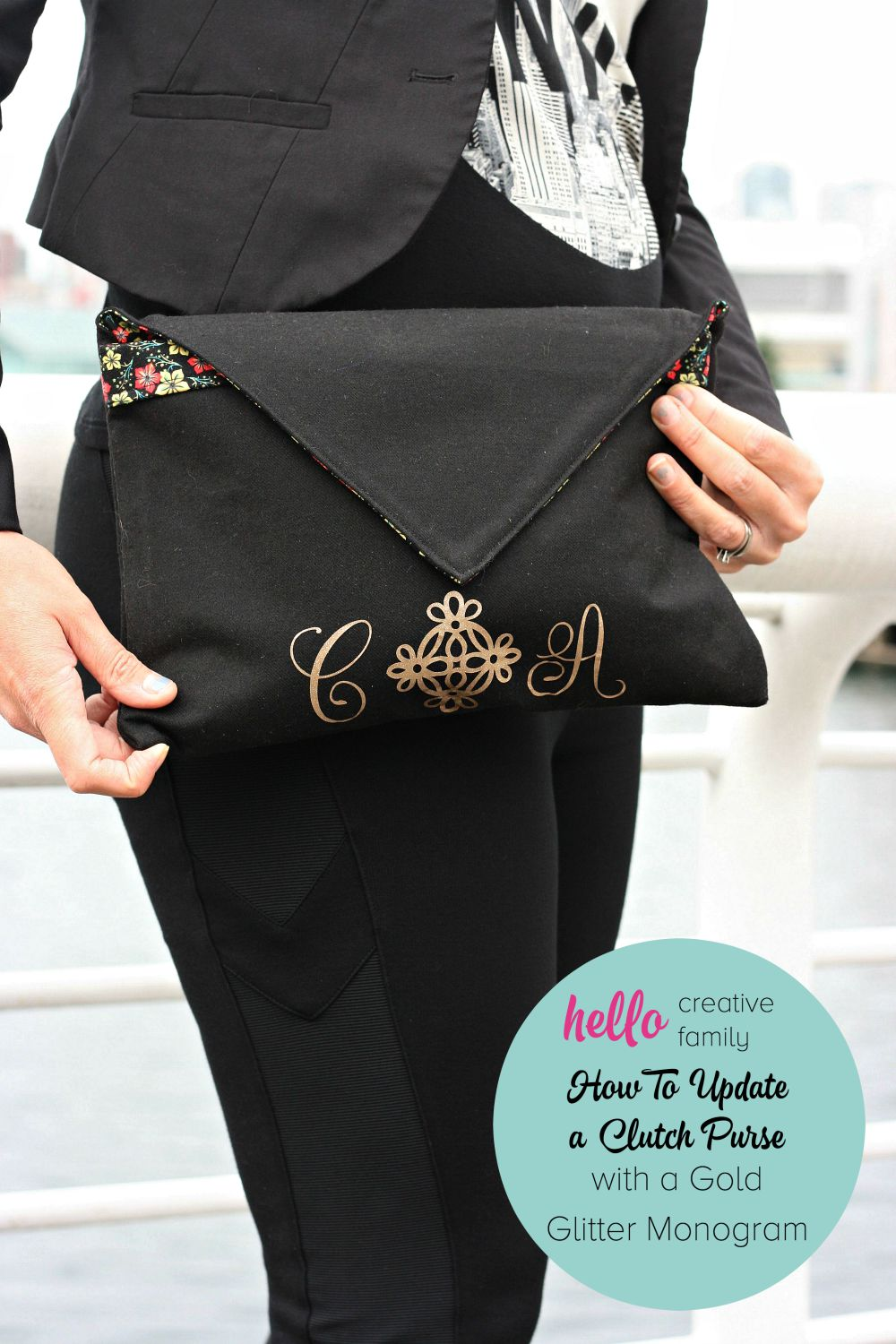 In celebration of the release of Cricut's Gold Edition, Hello Creative Family shares how to update a clutch purse with a gold glitter monogram 2