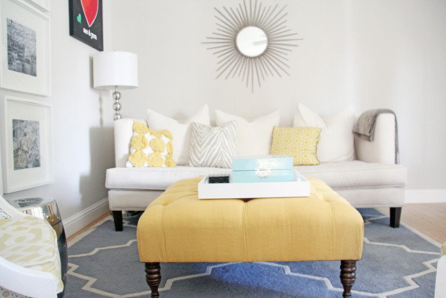 Tufted Yellow Ottoman fits in with a grey:yellow:blue colour palatte. Pinterest round-up on HelloCreativeFamily.com