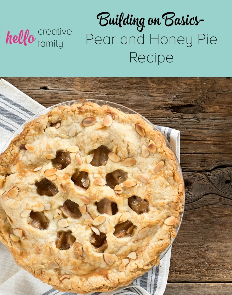 Nothing says comfort like a warm pie. Hello Creative Family's resident baker, Renee, shares her Pear and Honey Pie Recipe, building on the kitchen skills she taught in her perfect pie crust recipe.