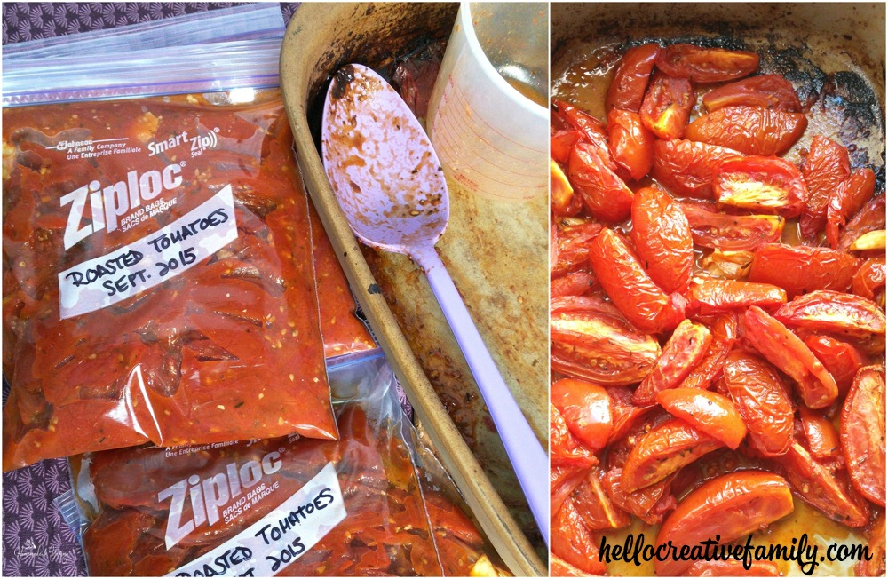 Gloria from Homemade and Yummy shares her Back To Basics recipe of Simple Roasted Tomatoes on Hello Creative Family. Perfect for storing in the freezer for quick sauces!