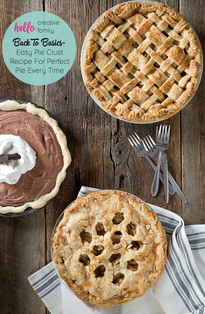 Hello Creative Family's resident baker shares her easy pie crust recipe along with 5 tips and tricks for perfect pie crust every time!