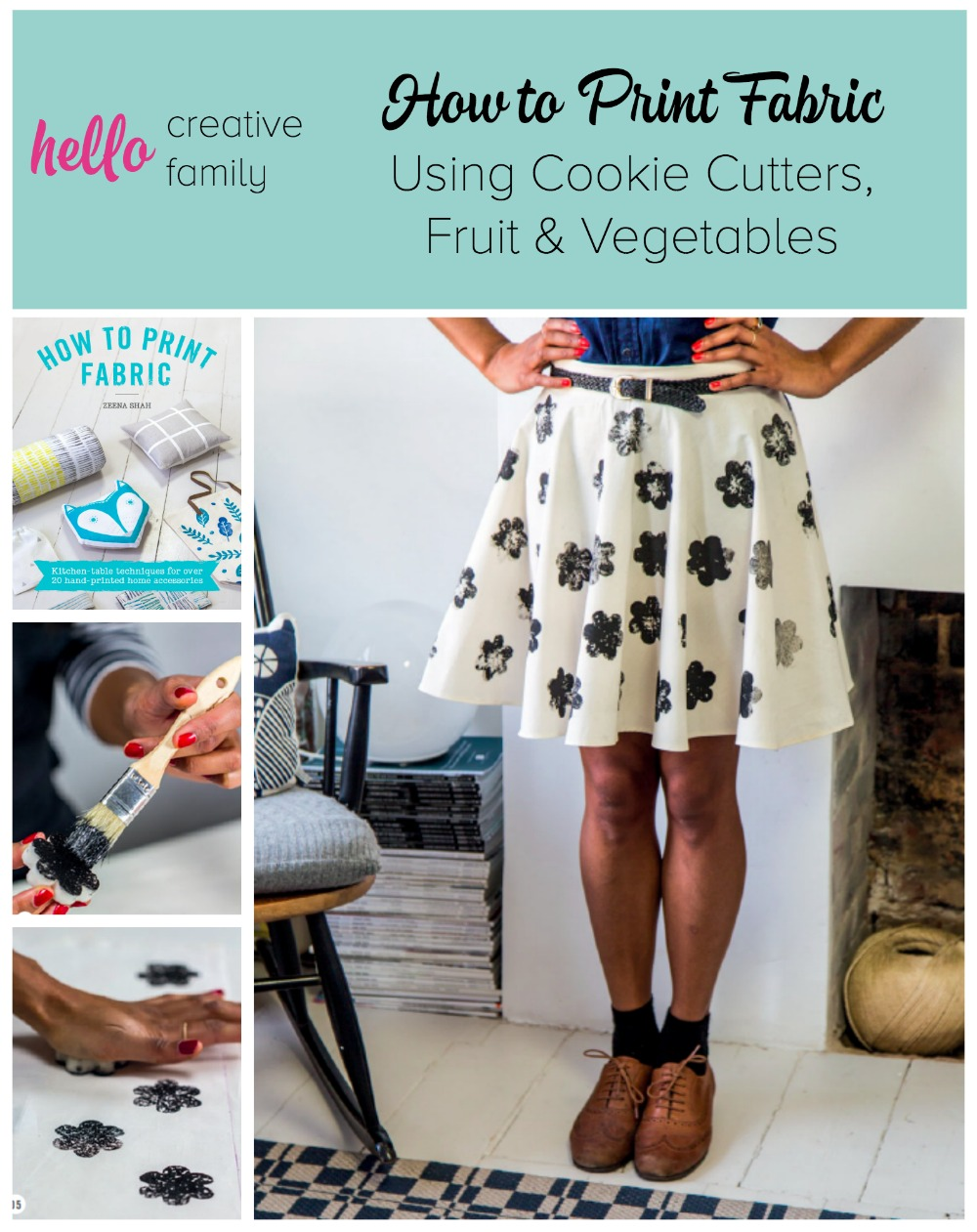 Want to print beautiful fabric at home? Learn how to make your own fabric designs using cookie cutters, fruit and vegetables!