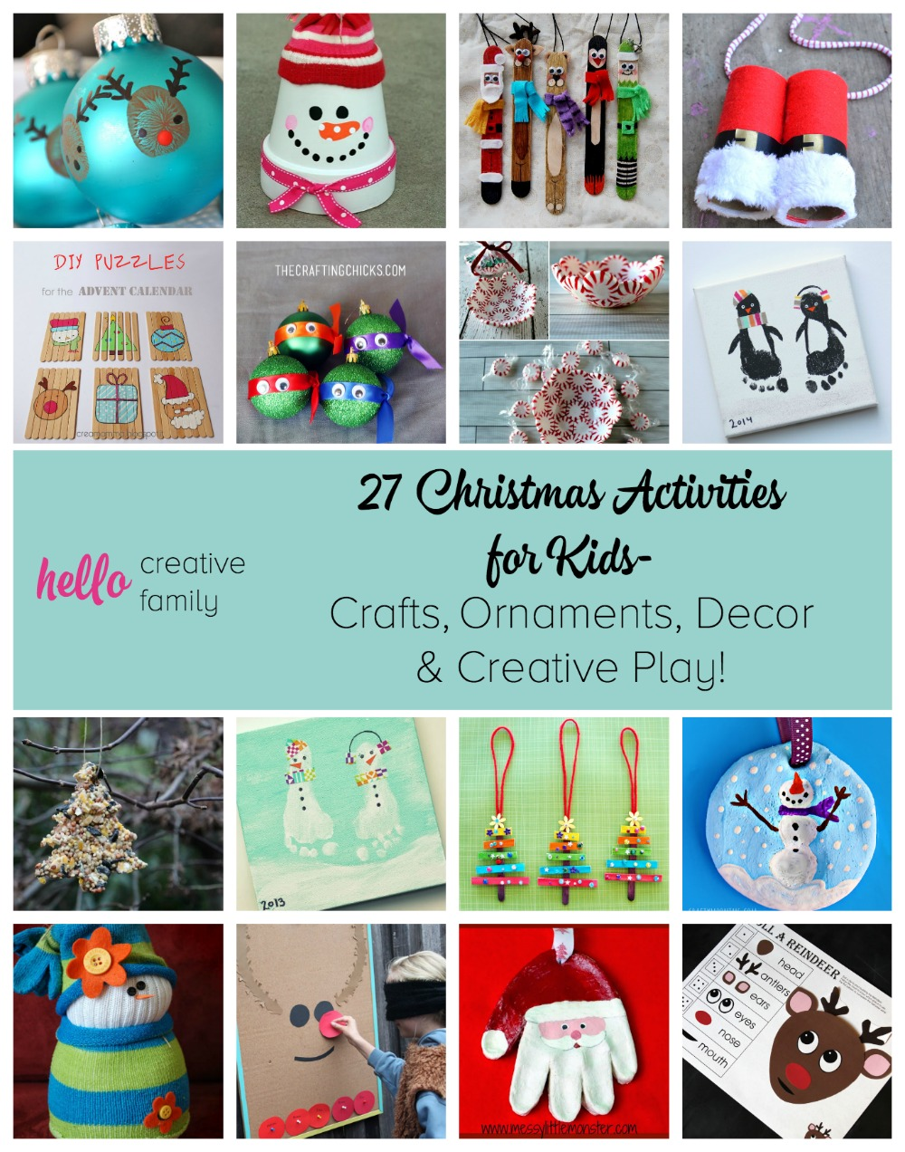 Christmas through the eyes of a child is an amazing thing! Hello Creative Family shares 27 Christmas Activities for kids including crafts, ornaments & creative play.