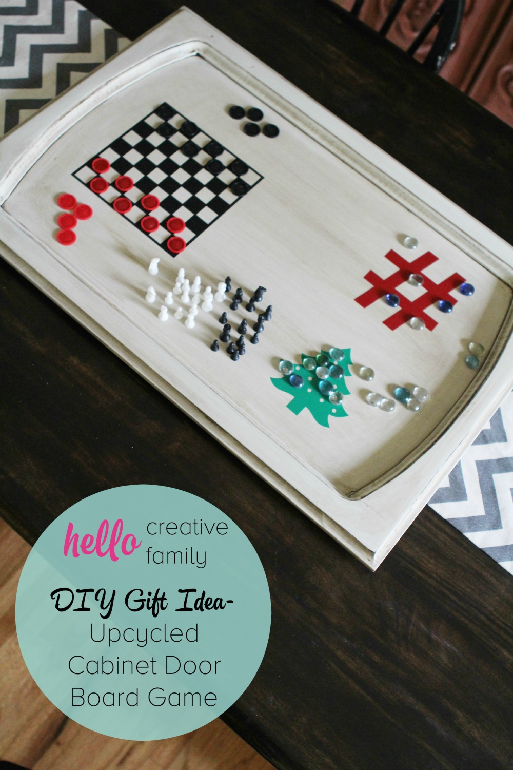 DIY Gift Idea- Upcycled Cabinet Door Board Game