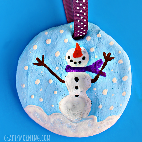Fingerprint Snowman Salt Dough Ornament