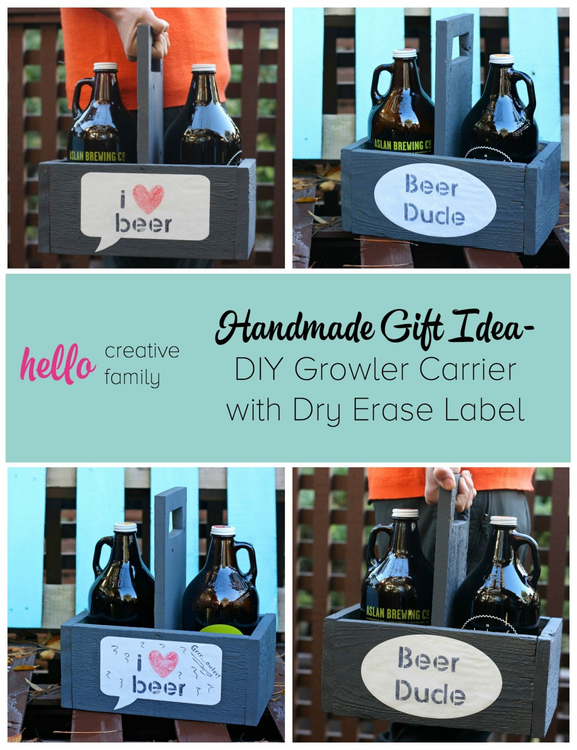 Learn how to make a DIY Growler Carrier out of upcycled wood. This project makes a great gift idea for beer drinkers and craft beer enthusiasts.
