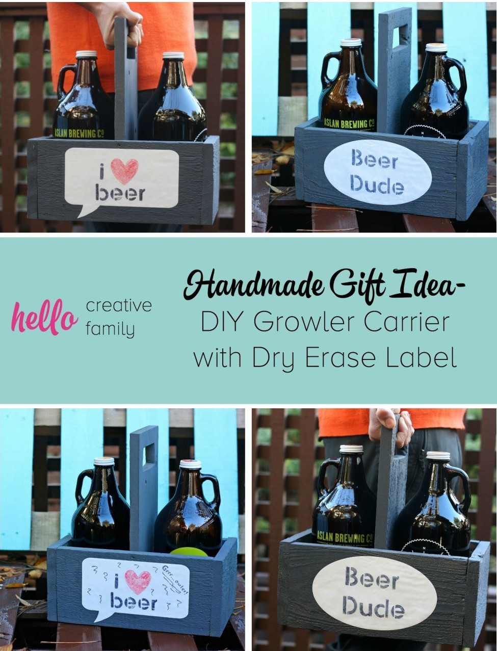 Handmade gift idea diy growler carrier with dry erase for Diy gift projects