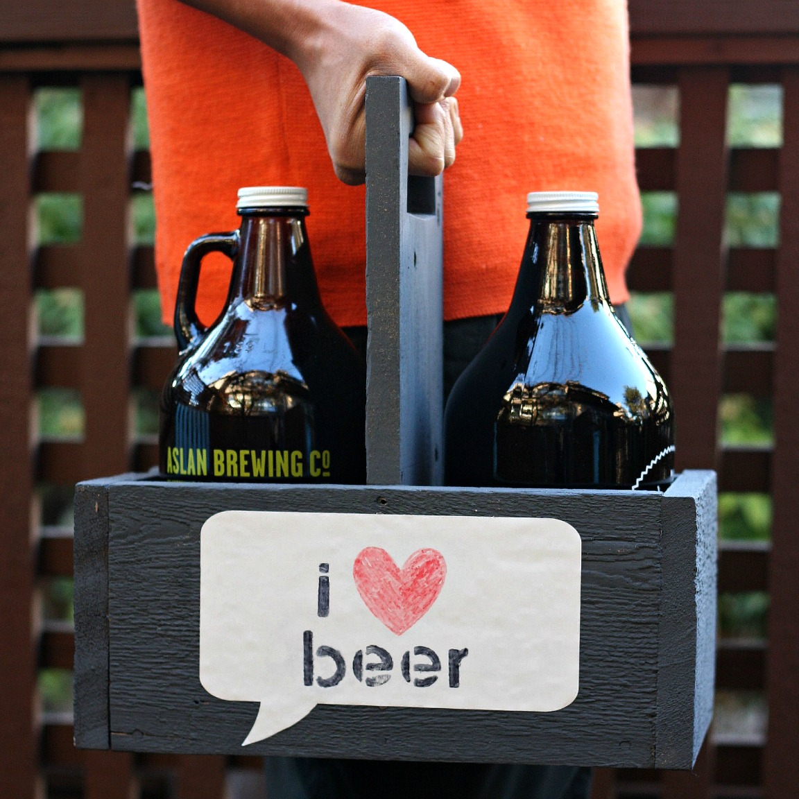 Handmade Gift Idea DIY Growler Carrier with Dry Erase Label
