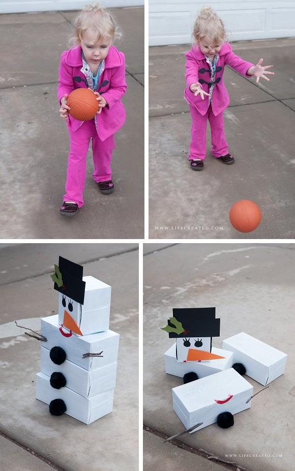 Snowman Tissue Box Bowling