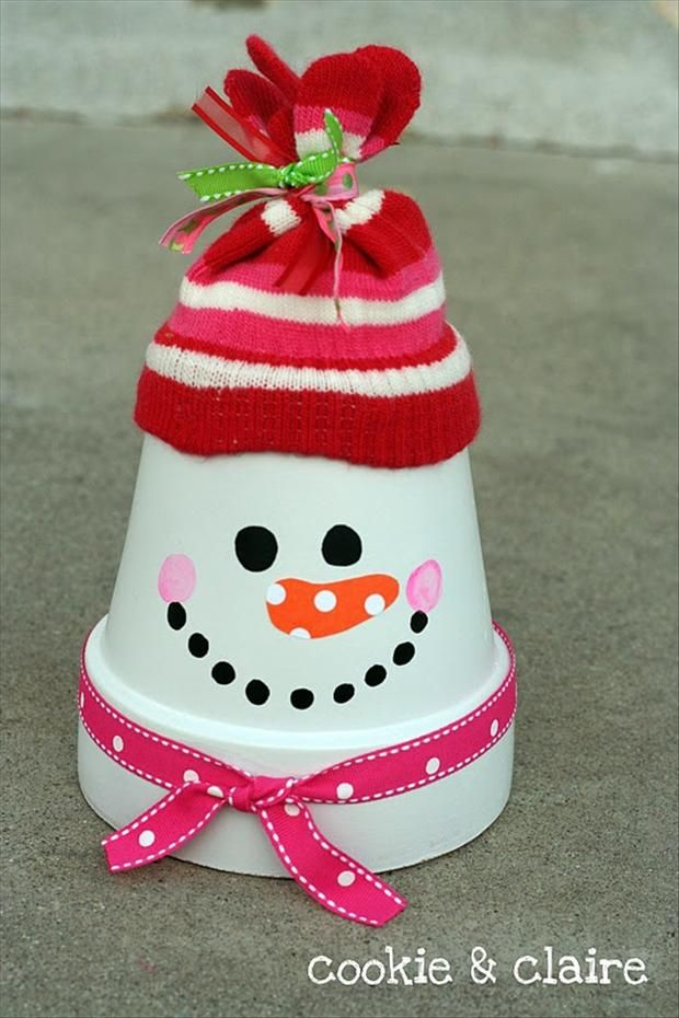 Terra Cotta Flower Pot Snowman