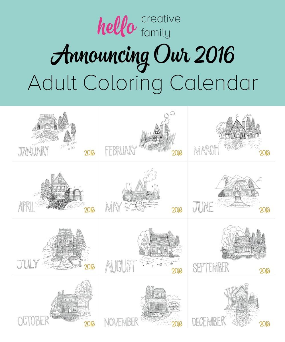Announcing Hello Creative Family's 2016 Adult Coloring Calendar