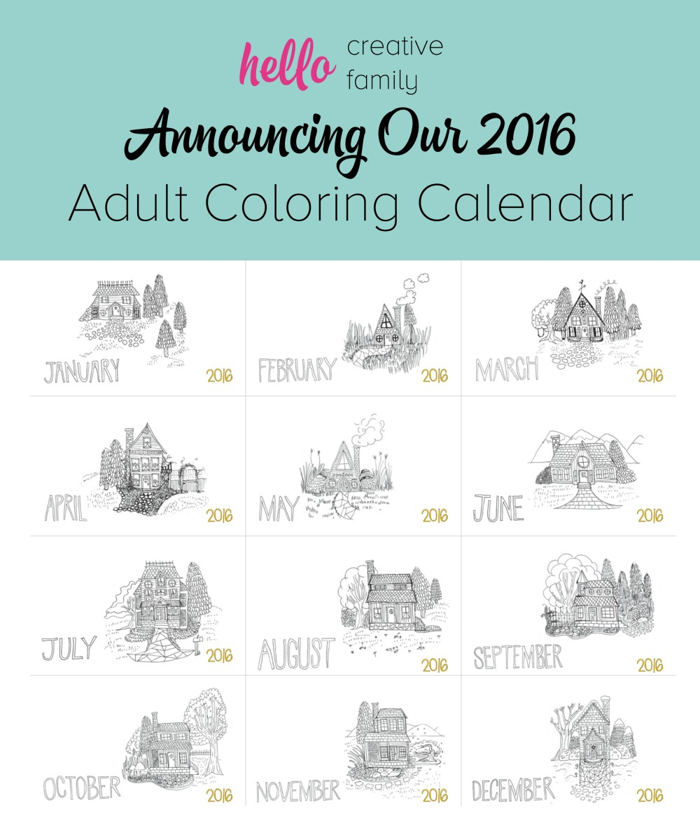 Announcing Hello Creative Family's 2016 Adult Coloring Calendar