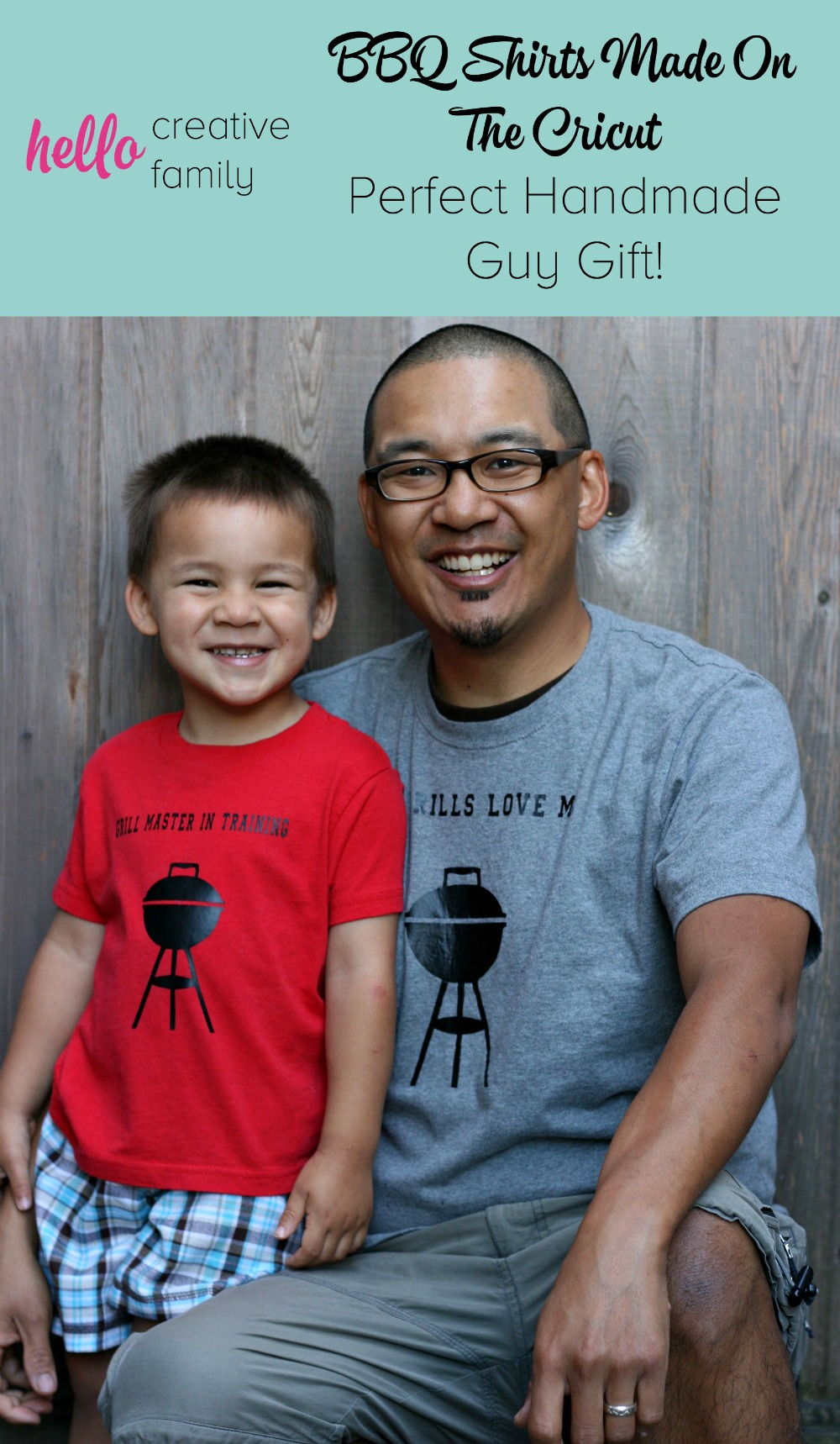 Know a guy (or gal) who's crazy for BBQ? Whip the up one of 4 BBQ Shirts from Hello Creative Family. The perfect handmade guy gift! A fabulous Cricut project perfect for Father's Day, Christmas or Birthdays!