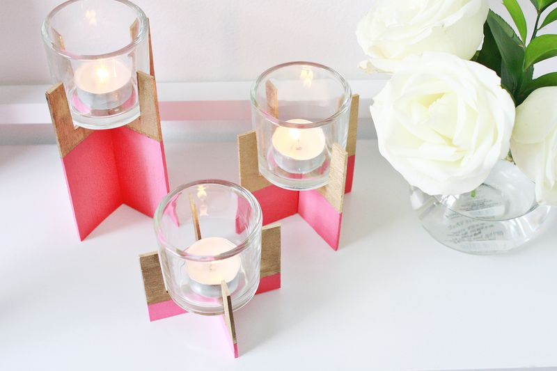 Paint dipped wood candle holder