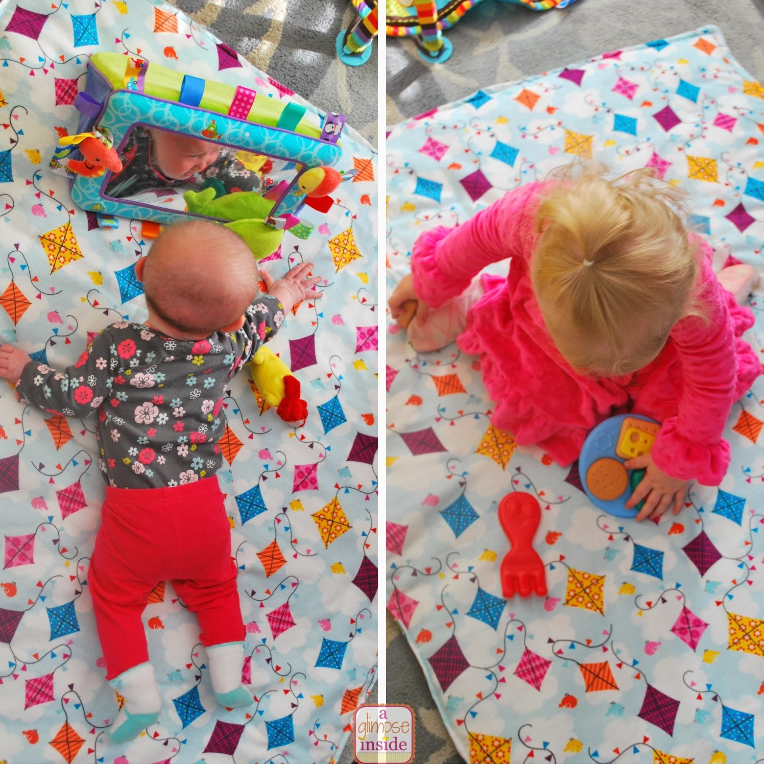 blanket-play mat- girls playing