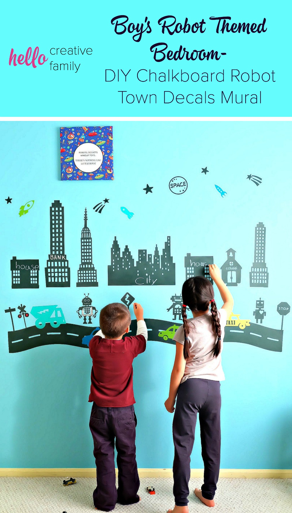 Boy's Robot Themed Bedroom- DIY Chalkboard Robot Town Decals Mural