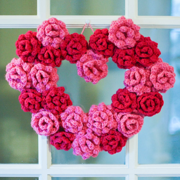 Crocheted Rose Heart Wreath from Petals to Picots