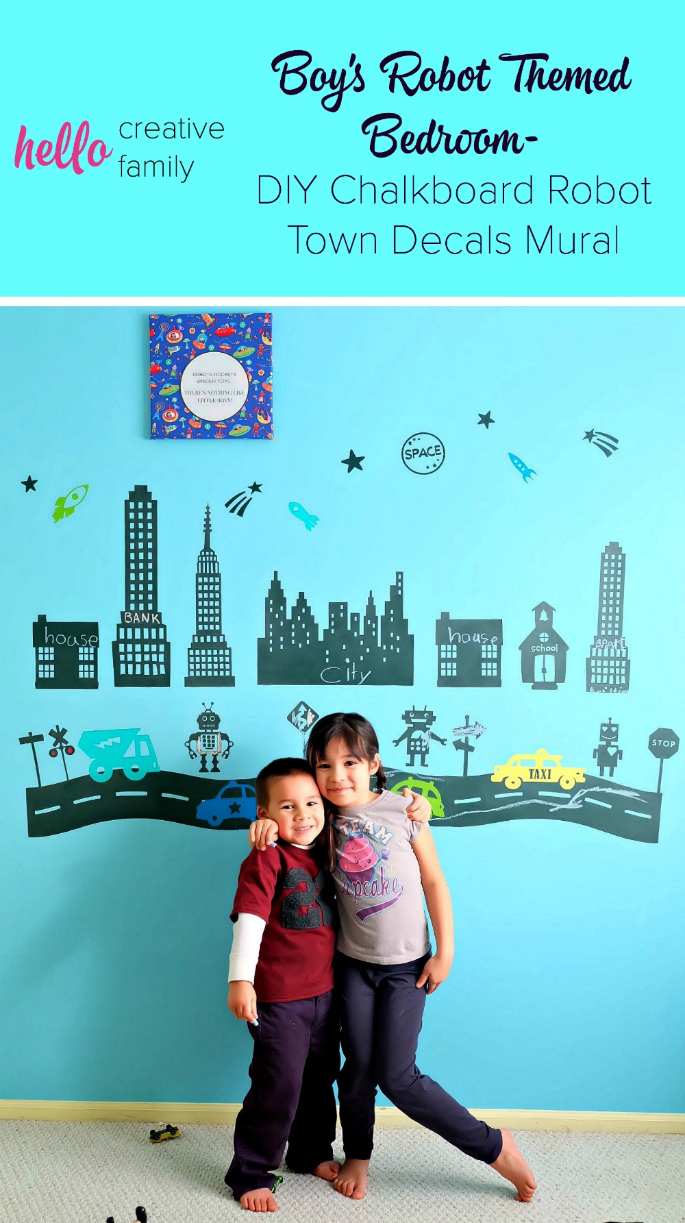 Cutest boys room idea ever! How adorable is this chalkboard robot town mural. I love these DIY decals!