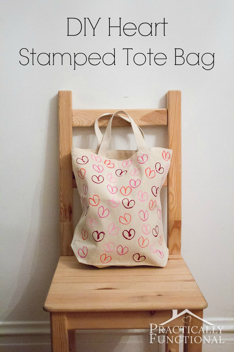 DIY Toilet Paper Tube Stamped Tote Bag from Practically Functional