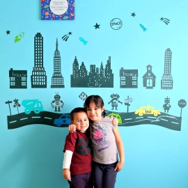 Cutest boys room idea ever! How adorable is this chalkboard robot town mural. I love these DIY robot decals!
