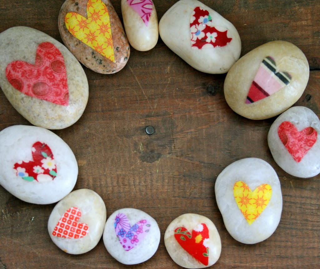 Decoupage Heart Rocks from Emily Neuburger