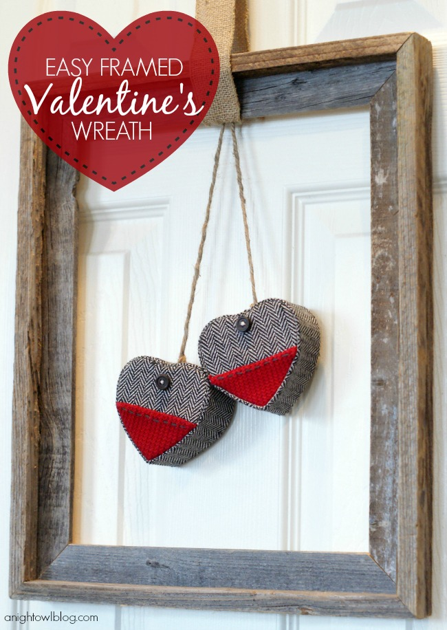 Easy Framed Valentine's Day Wreath from A Night Owl