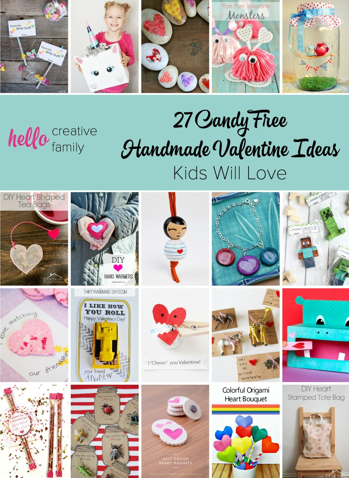 I'm so tired of all the candy that fills my house each holiday! Here are 27 amazing candy free handmade Valentine Ideas that kids will love