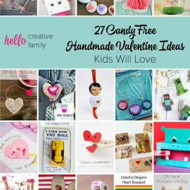 I'm so tired of all the candy that fills my house each holiday! Here are 27 amazing candy free handmade Valentine Ideas that kids will love! My favorite is number 7! Great ideas for boys and girls!