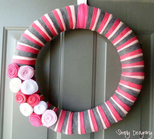 Pink and Grey Flower Wreath from Simply Designing