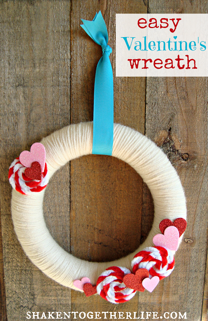 Pipe Cleaner And Yarn Valentine's Day Wreath from Shaken Together Life