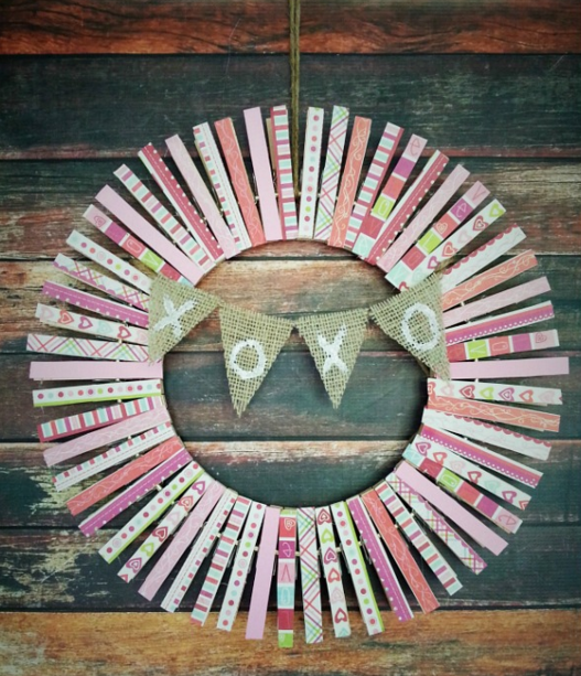 Clothespin Valentine's Day Wreath from A Cultivated Nest