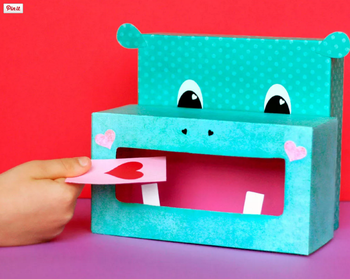 Hippo Valentine's Day Card Box from Fiskars