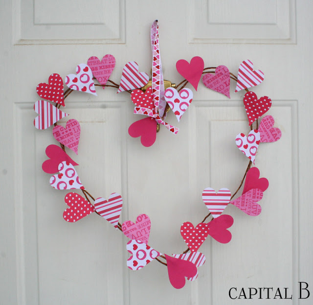 Simple Paper Heart Wreath from Creative With A Capital B