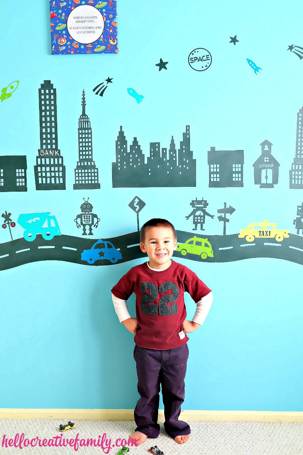 This robot town wall looks like too much fun for little boys! What a great idea for a boy's room!