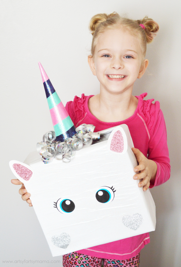 75+ Magically Inspiring Unicorn Crafts, DIYs, Foods and Gift Ideas: Unicorn Valentine Box from Artsy Fartsy Mama